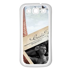 French Postcard Vintage Paris Eiffel Tower Samsung Galaxy S3 Back Case (White)