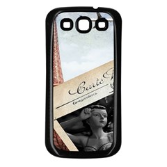 French Postcard Vintage Paris Eiffel Tower Samsung Galaxy S3 Back Case (Black)