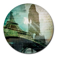 Modern Shopaholic Girl  Paris Eiffel Tower Art  8  Mouse Pad (round)