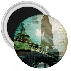 Modern Shopaholic Girl  Paris Eiffel Tower Art  3  Button Magnet