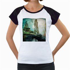 Modern Shopaholic Girl  Paris Eiffel Tower Art  Women s Cap Sleeve T Shirt (white)