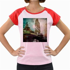 Modern Shopaholic Girl  Paris Eiffel Tower Art  Women s Cap Sleeve T-Shirt (Colored)