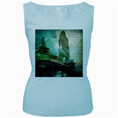 Modern Shopaholic Girl  Paris Eiffel Tower Art  Womens  Tank Top (Baby Blue)