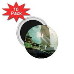 Modern Shopaholic Girl  Paris Eiffel Tower Art  1.75  Button Magnet (10 pack)