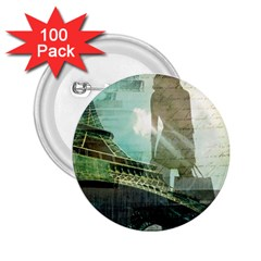 Modern Shopaholic Girl  Paris Eiffel Tower Art  2.25  Button (100 pack)