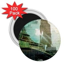Modern Shopaholic Girl  Paris Eiffel Tower Art  2.25  Button Magnet (100 pack)