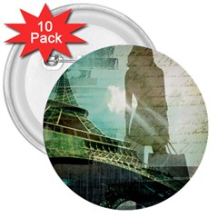 Modern Shopaholic Girl  Paris Eiffel Tower Art  3  Button (10 pack)