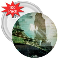 Modern Shopaholic Girl  Paris Eiffel Tower Art  3  Button (100 pack)