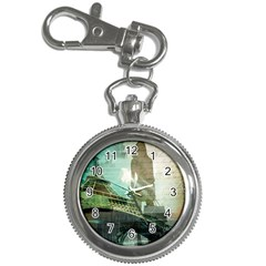 Modern Shopaholic Girl  Paris Eiffel Tower Art  Key Chain & Watch