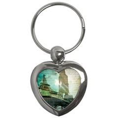 Modern Shopaholic Girl  Paris Eiffel Tower Art  Key Chain (heart)