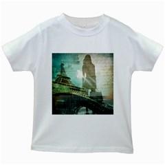 Modern Shopaholic Girl  Paris Eiffel Tower Art  Kids' T-shirt (White)