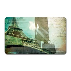 Modern Shopaholic Girl  Paris Eiffel Tower Art  Magnet (Rectangular)