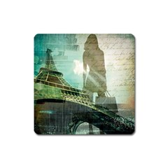 Modern Shopaholic Girl  Paris Eiffel Tower Art  Magnet (square)