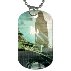 Modern Shopaholic Girl  Paris Eiffel Tower Art  Dog Tag (one Sided)