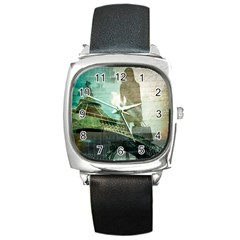 Modern Shopaholic Girl  Paris Eiffel Tower Art  Square Leather Watch