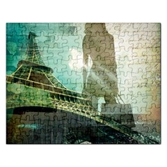 Modern Shopaholic Girl  Paris Eiffel Tower Art  Jigsaw Puzzle (Rectangle)