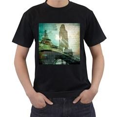 Modern Shopaholic Girl  Paris Eiffel Tower Art  Mens' Two Sided T-shirt (Black)