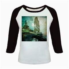 Modern Shopaholic Girl  Paris Eiffel Tower Art  Women s Long Cap Sleeve T-Shirt