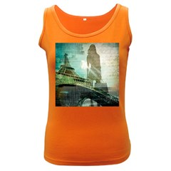 Modern Shopaholic Girl  Paris Eiffel Tower Art  Womens  Tank Top (dark Colored)