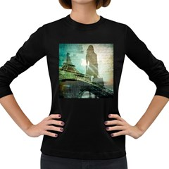 Modern Shopaholic Girl  Paris Eiffel Tower Art  Womens' Long Sleeve T-shirt (Dark Colored)