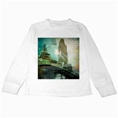 Modern Shopaholic Girl  Paris Eiffel Tower Art  Kids Long Sleeve T-Shirt