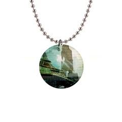 Modern Shopaholic Girl  Paris Eiffel Tower Art  Button Necklace