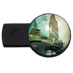 Modern Shopaholic Girl  Paris Eiffel Tower Art  4GB USB Flash Drive (Round)
