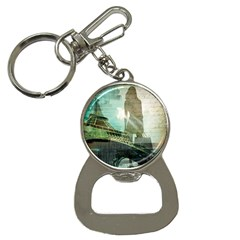 Modern Shopaholic Girl  Paris Eiffel Tower Art  Bottle Opener Key Chain