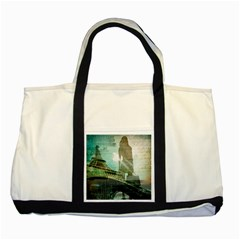 Modern Shopaholic Girl  Paris Eiffel Tower Art  Two Toned Tote Bag