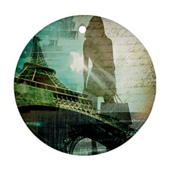 Modern Shopaholic Girl  Paris Eiffel Tower Art  Round Ornament (Two Sides)