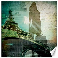 Modern Shopaholic Girl  Paris Eiffel Tower Art  Canvas 12  X 12  (unframed)