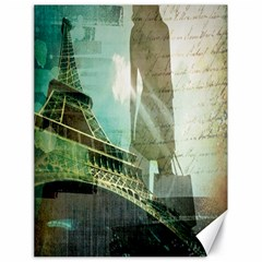 Modern Shopaholic Girl  Paris Eiffel Tower Art  Canvas 18  x 24  (Unframed)