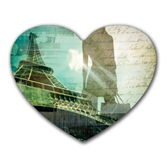 Modern Shopaholic Girl  Paris Eiffel Tower Art  Mouse Pad (heart)