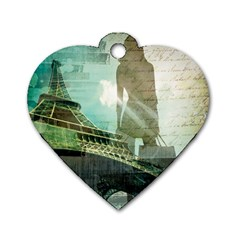 Modern Shopaholic Girl  Paris Eiffel Tower Art  Dog Tag Heart (One Sided)