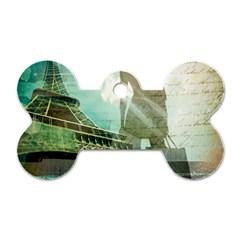 Modern Shopaholic Girl  Paris Eiffel Tower Art  Dog Tag Bone (two Sided)