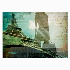 Modern Shopaholic Girl  Paris Eiffel Tower Art  Glasses Cloth (large, Two Sided)
