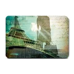 Modern Shopaholic Girl  Paris Eiffel Tower Art  Small Door Mat