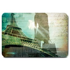 Modern Shopaholic Girl  Paris Eiffel Tower Art  Large Door Mat