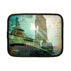 Modern Shopaholic Girl  Paris Eiffel Tower Art  Netbook Case (Small)