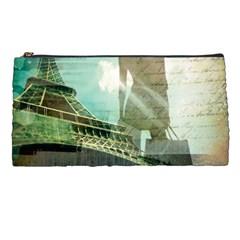 Modern Shopaholic Girl  Paris Eiffel Tower Art  Pencil Case