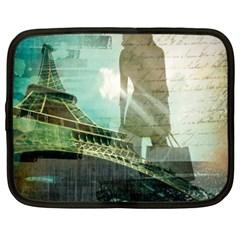 Modern Shopaholic Girl  Paris Eiffel Tower Art  Netbook Case (xxl)