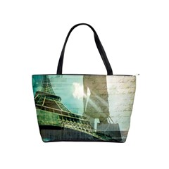 Modern Shopaholic Girl  Paris Eiffel Tower Art  Large Shoulder Bag