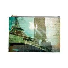 Modern Shopaholic Girl  Paris Eiffel Tower Art  Cosmetic Bag (large)