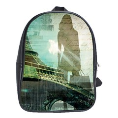 Modern Shopaholic Girl  Paris Eiffel Tower Art  School Bag (Large)