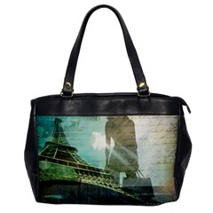 Modern Shopaholic Girl  Paris Eiffel Tower Art  Oversize Office Handbag (one Side)