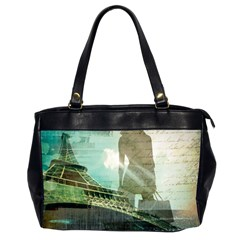 Modern Shopaholic Girl  Paris Eiffel Tower Art  Oversize Office Handbag (Two Sides)