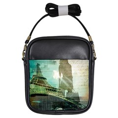 Modern Shopaholic Girl  Paris Eiffel Tower Art  Girl s Sling Bag