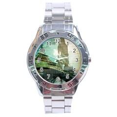 Modern Shopaholic Girl  Paris Eiffel Tower Art  Stainless Steel Watch (men s)