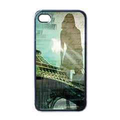 Modern Shopaholic Girl  Paris Eiffel Tower Art  Apple iPhone 4 Case (Black)