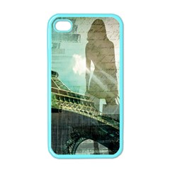 Modern Shopaholic Girl  Paris Eiffel Tower Art  Apple Iphone 4 Case (color)